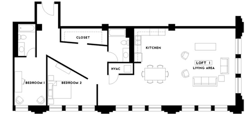2 Bedrooms 2 Bathrooms Apartment for rent at The Phoenix Building Lofts in Birmingham, AL