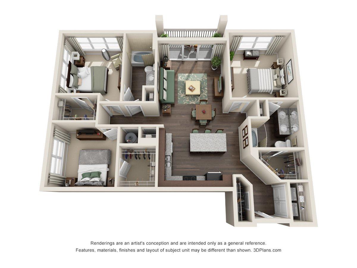 3 Bedrooms 2 Bathrooms Apartment for rent at Century Millenia in Orlando, FL