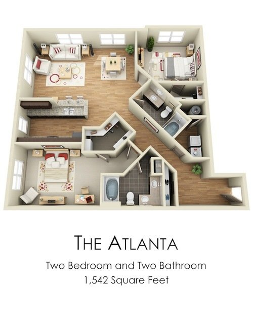 2 Bedrooms 2 Bathrooms Apartment for rent at Century Skyline in Atlanta, GA