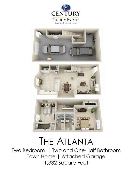 2 Bedrooms 2 Bathrooms Apartment for rent at Century Trinity Estates in Durham, NC