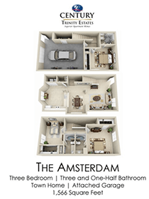 3 Bedrooms 3 Bathrooms Apartment for rent at Century Trinity Estates in Durham, NC