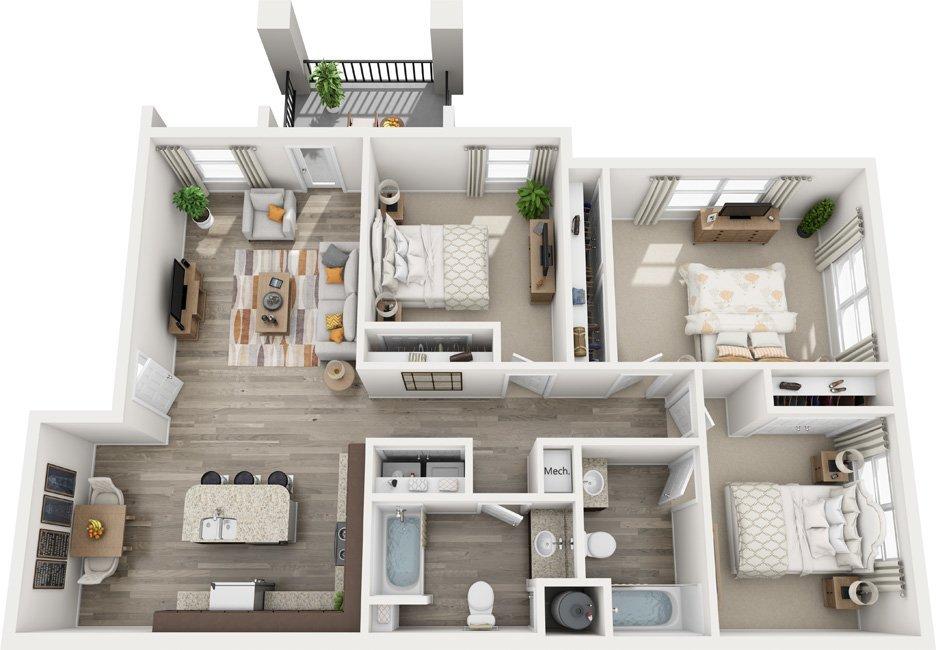 3 Bedrooms 2 Bathrooms Apartment for rent at Century Autumn Wood in Murfreesboro, TN