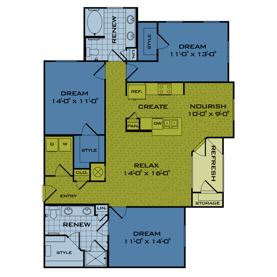 3 Bedrooms 2 Bathrooms Apartment for rent at Beacon At Buffalo Pointe in Houston, TX