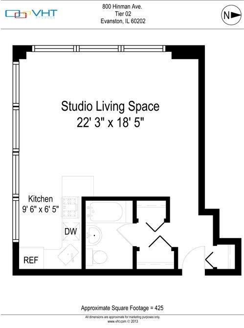 Studio 1 Bathroom Apartment for rent at Presidential Apartments in Evanston, IL