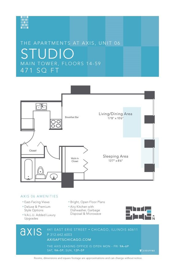 Studio 1 Bathroom Apartment for rent at Axis Apartments & Lofts in Chicago, IL