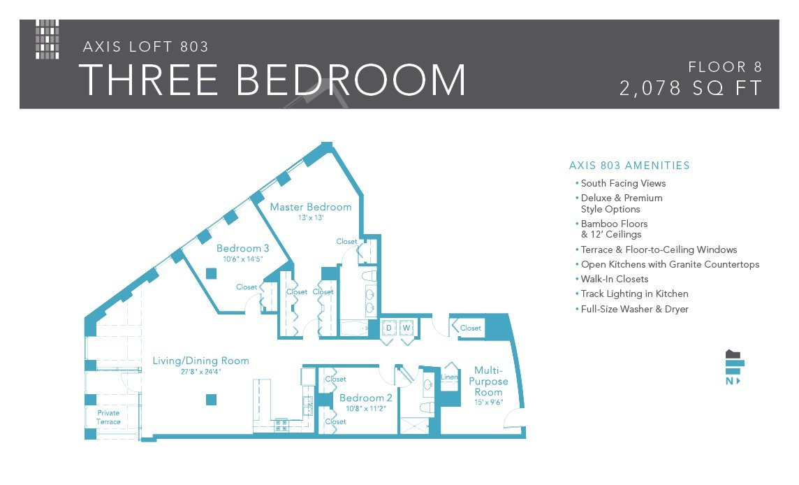 3 Bedrooms 2 Bathrooms Apartment for rent at Axis Apartments & Lofts in Chicago, IL