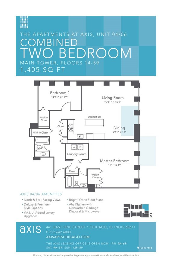 2 Bedrooms 2 Bathrooms Apartment for rent at Axis Apartments & Lofts in Chicago, IL