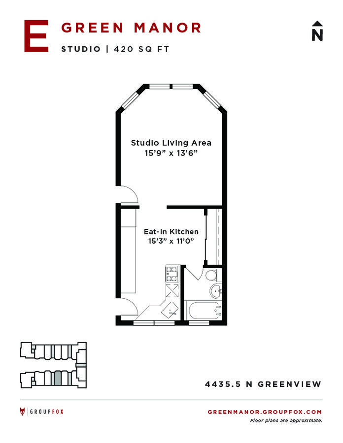 Studio 1 Bathroom Apartment for rent at Green Manor in Chicago, IL