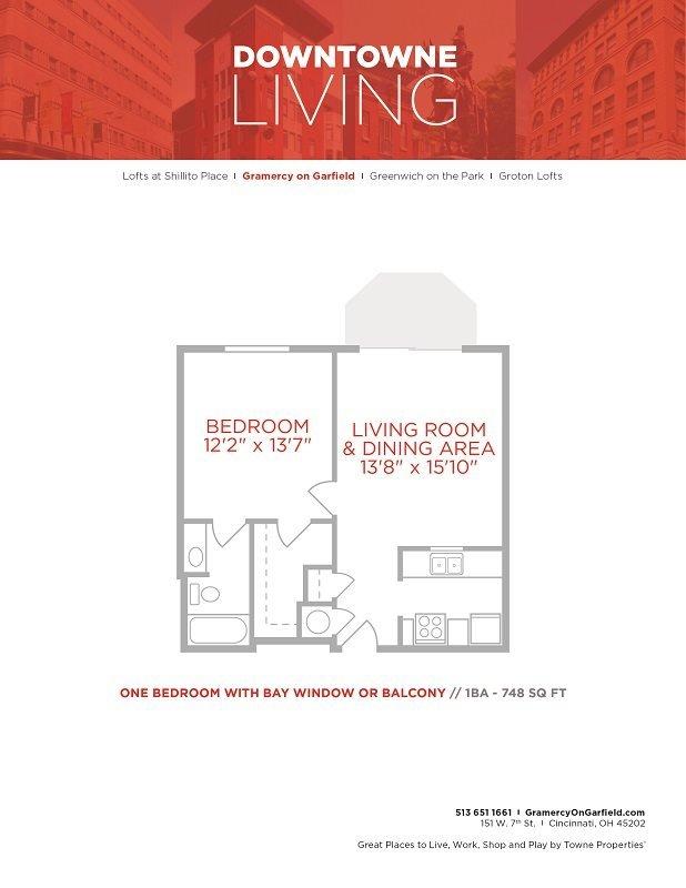 1 Bedroom 1 Bathroom Apartment for rent at Gramercy in Cincinnati, OH