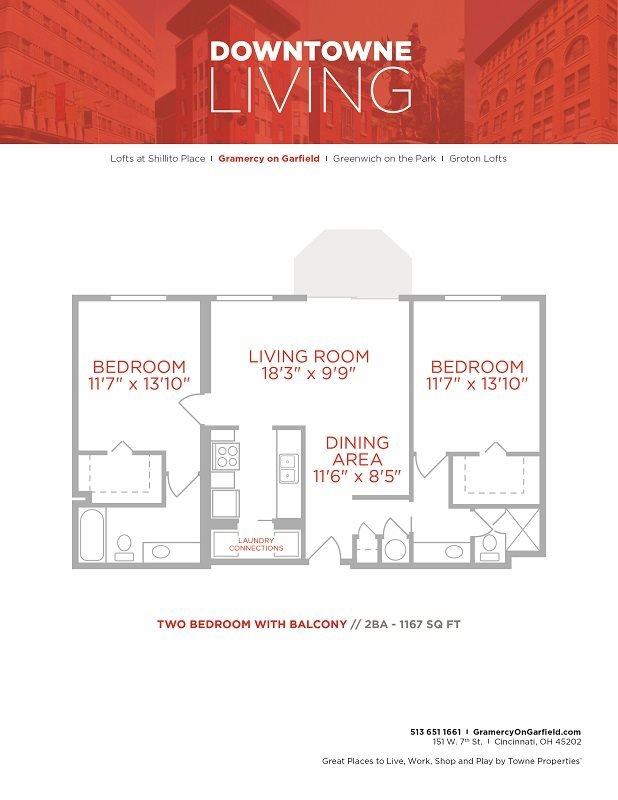 2 Bedrooms 2 Bathrooms Apartment for rent at Gramercy in Cincinnati, OH