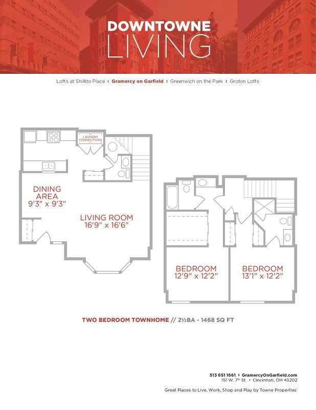 2 Bedrooms 3 Bathrooms Apartment for rent at Gramercy in Cincinnati, OH