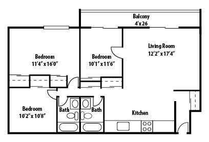 3 Bedrooms 2 Bathrooms Apartment for rent at Lakeshore Drive Apartments in Cincinnati, OH