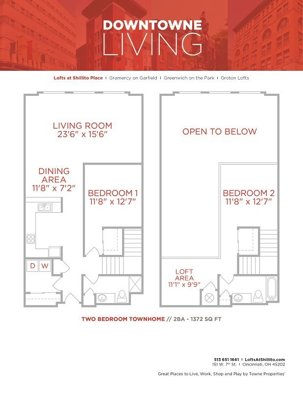 2 Bedrooms 2 Bathrooms Apartment for rent at The Lofts At Shillito Place in Cincinnati, OH