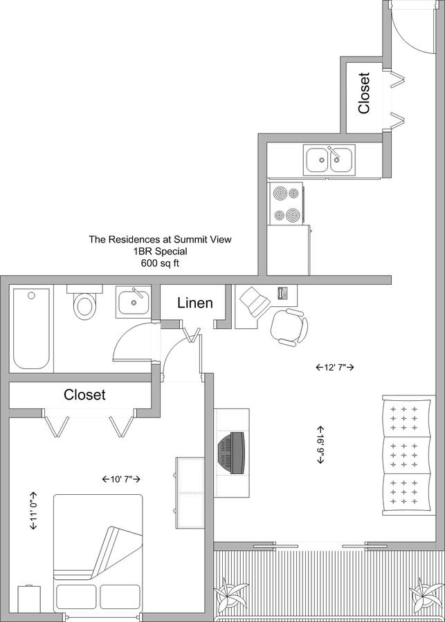 1 Bedroom 1 Bathroom Apartment for rent at The Residences At Summit View in Cincinnati, OH