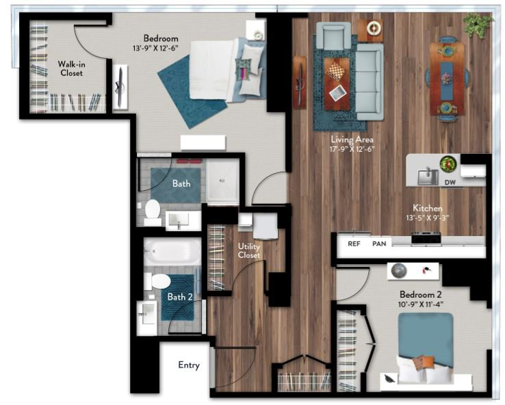 2 Bedrooms 2 Bathrooms Apartment for rent at 1919 Market in Philadelphia, PA