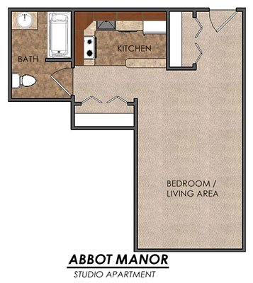 Studio 1 Bathroom Apartment for rent at Abbot Manor in East Lansing, MI