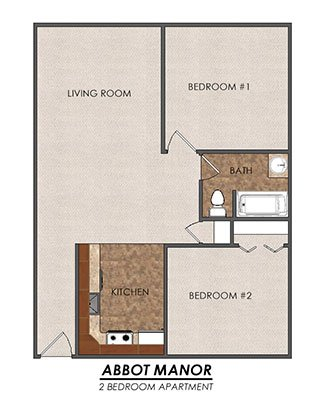 2 Bedrooms 1 Bathroom Apartment for rent at Abbot Manor in East Lansing, MI