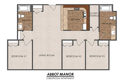 3 Bedrooms 2 Bathrooms Apartment for rent at Abbot Manor in East Lansing, MI