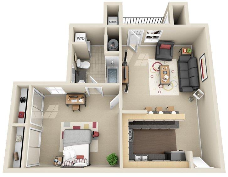 1 Bedroom 1 Bathroom Apartment for rent at Chandler Crossings in East Lansing, MI