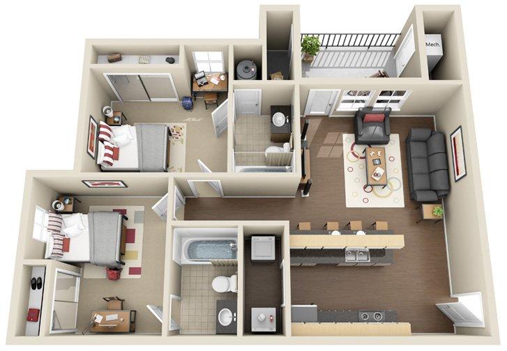2 Bedrooms 2 Bathrooms Apartment for rent at Chandler Crossings in East Lansing, MI