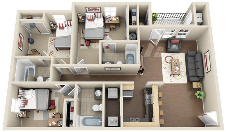 3 Bedrooms 3 Bathrooms Apartment for rent at Chandler Crossings in East Lansing, MI