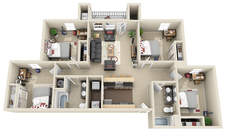 4 Bedrooms 2 Bathrooms Apartment for rent at Chandler Crossings in East Lansing, MI