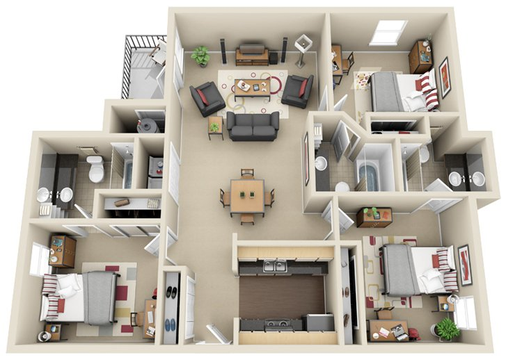 4 Bedrooms 3 Bathrooms Apartment for rent at Chandler Crossings in East Lansing, MI