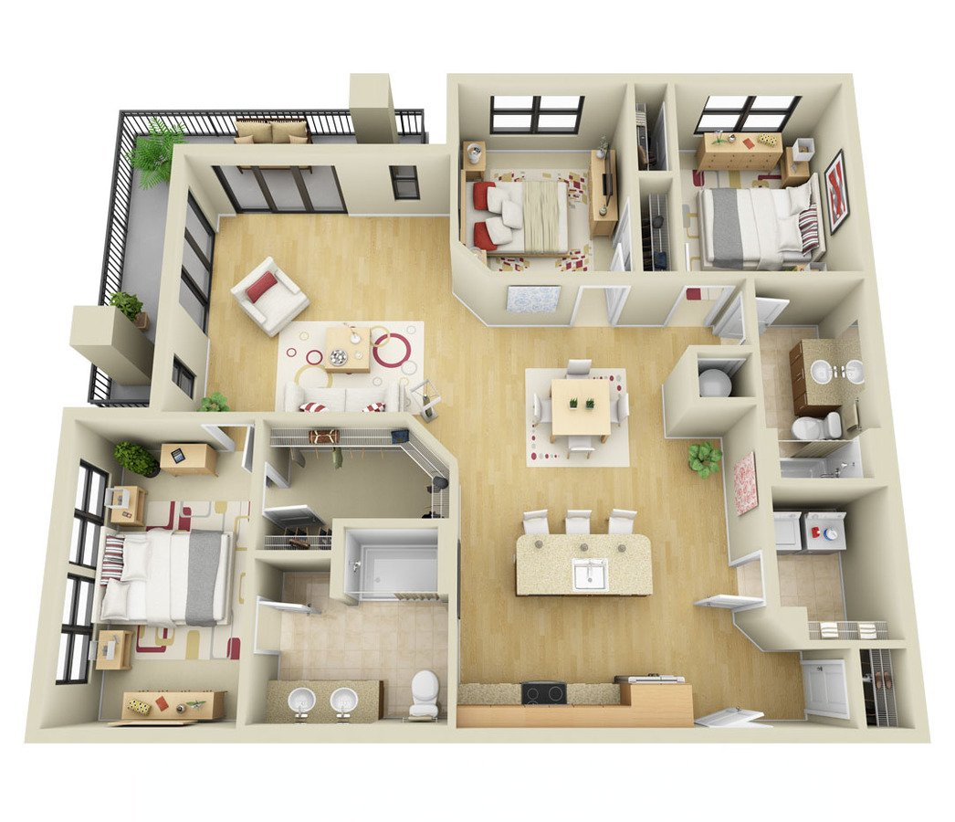 3 Bedrooms 2 Bathrooms Apartment for rent at Cielo Apartments in Charlotte, NC