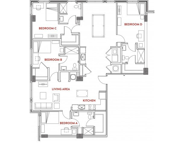 4 Bedrooms 4+ Bathrooms Apartment for rent at Foundry Lofts in Ann Arbor, MI