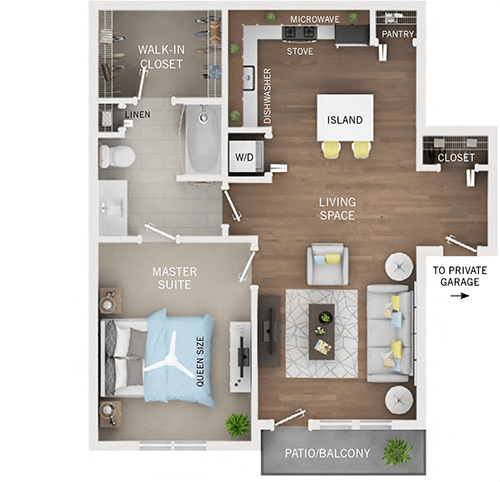 1 Bedroom 1 Bathroom Apartment for rent at Oakcliff Apartments in Ann Arbor, MI