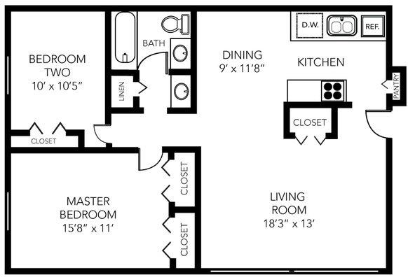 2 Bedrooms 1 Bathroom Apartment for rent at Glencoe Hills Apartments in Ann Arbor, MI