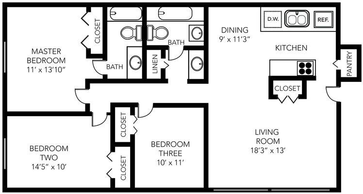 3 Bedrooms 2 Bathrooms Apartment for rent at Glencoe Hills Apartments in Ann Arbor, MI