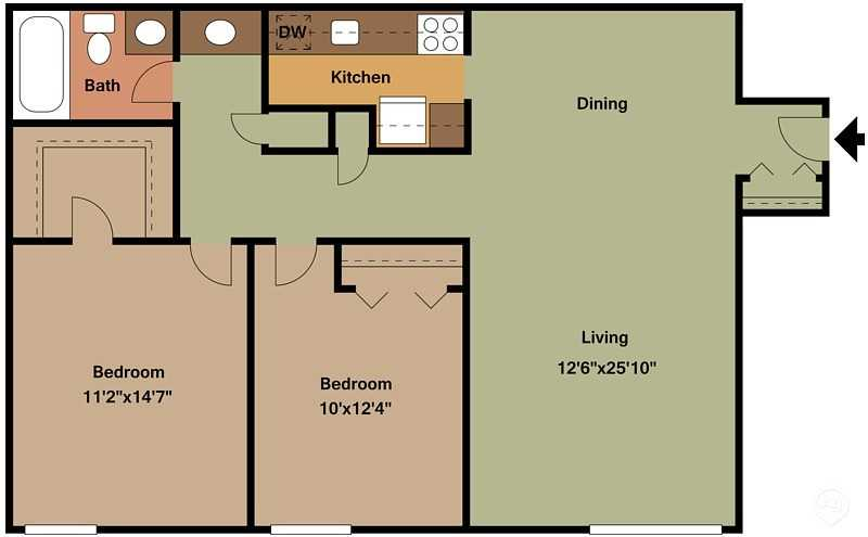 2 Bedrooms 1 Bathroom Apartment for rent at The Highlands in Ann Arbor, MI