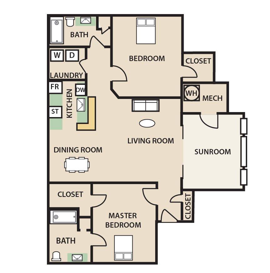 2 Bedrooms 2 Bathrooms Apartment for rent at Preston Creek in Mcdonough, GA