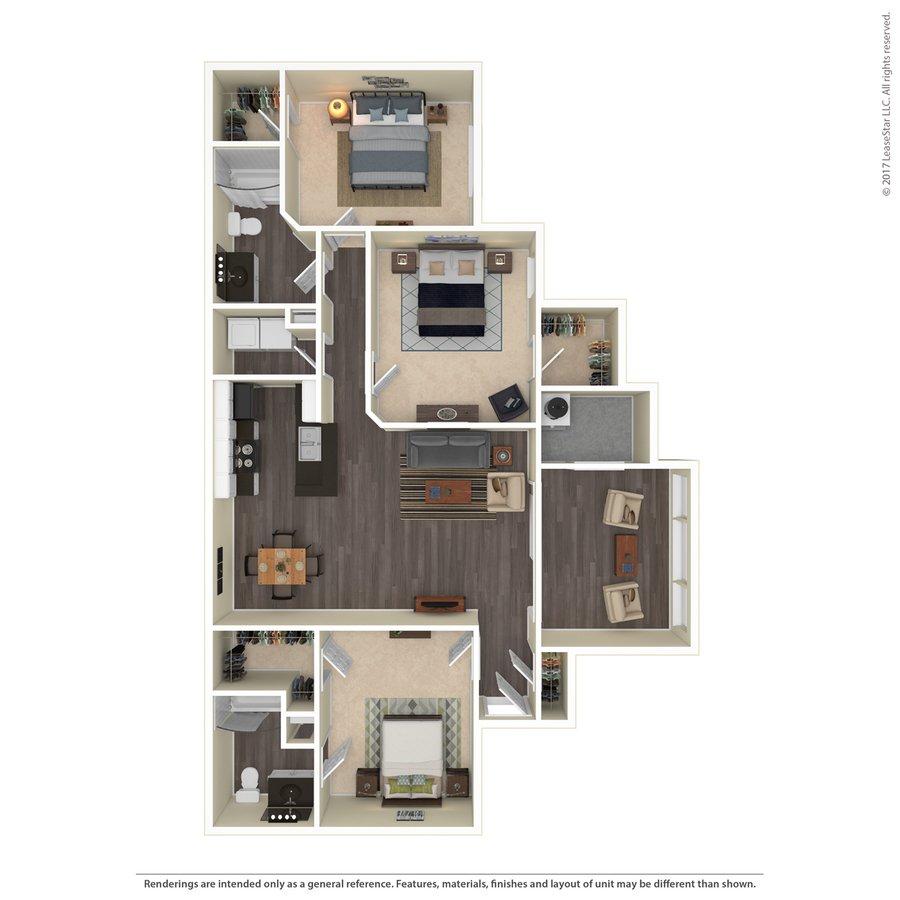 3 Bedrooms 2 Bathrooms Apartment for rent at Preston Creek in Mcdonough, GA