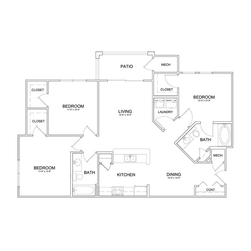 3 Bedrooms 2 Bathrooms Apartment for rent at The Park At Southwood in Tallahassee, FL