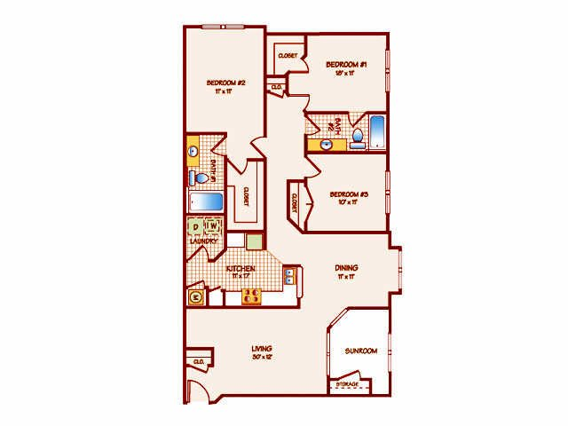3 Bedrooms 2 Bathrooms Apartment for rent at The Lakes At San Marcos Apartments in Tallahassee, FL