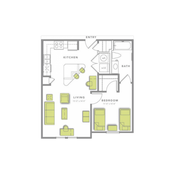 1 Bedroom 1 Bathroom Apartment for rent at Grandmarc At Tallahassee in Tallassee, FL