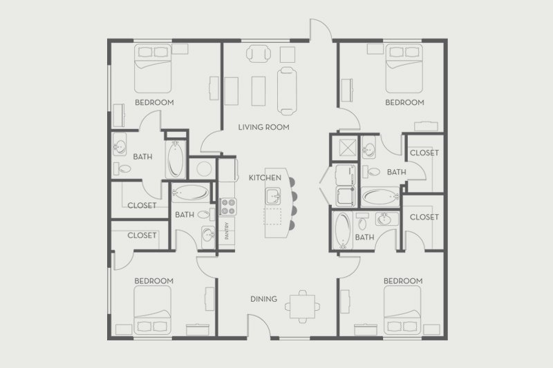 4 Bedrooms 4+ Bathrooms Apartment for rent at Woodlands On West Tennessee in Tallahassee, FL