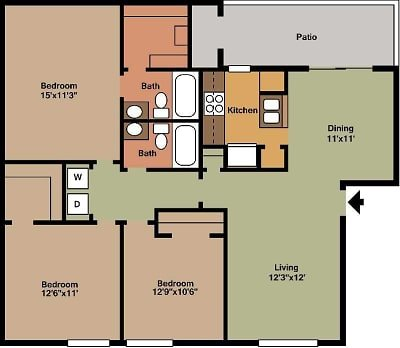 3 Bedrooms 2 Bathrooms Apartment for rent at Pineforest Park & Place Apartments in Houston, TX