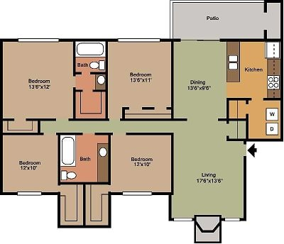 4 Bedrooms 2 Bathrooms Apartment for rent at Pineforest Park & Place Apartments in Houston, TX