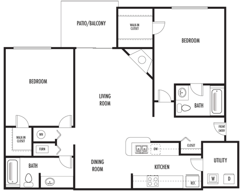 2 Bedrooms 2 Bathrooms Apartment for rent at Riverbend Apartments in Indianapolis, IN