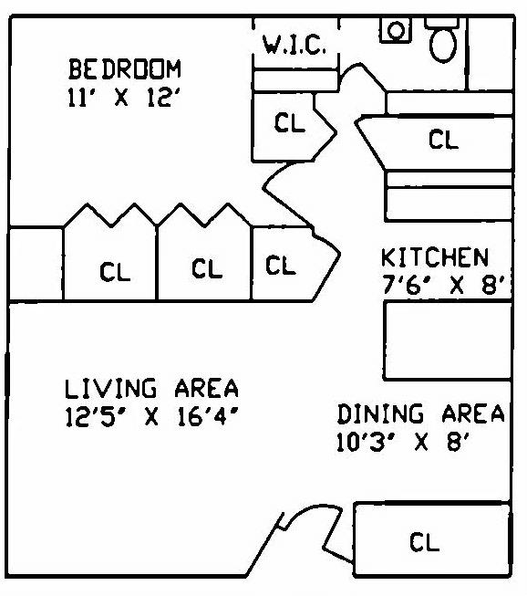 1 Bedroom 1 Bathroom Apartment for rent at Hillcrest Village Apartments in East Lansing, MI