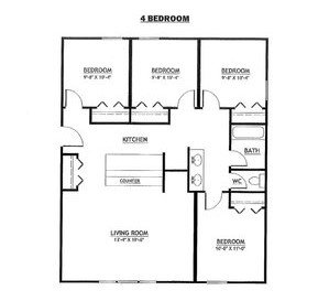 4 Bedrooms 1 Bathroom Apartment for rent at Evergreen Point in East Lansing, MI