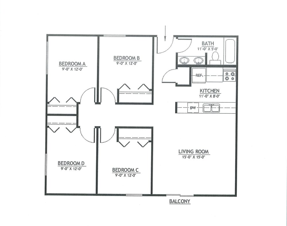 4 Bedrooms 1 Bathroom Apartment for rent at Treehouse West 2 in East Lansing, NM