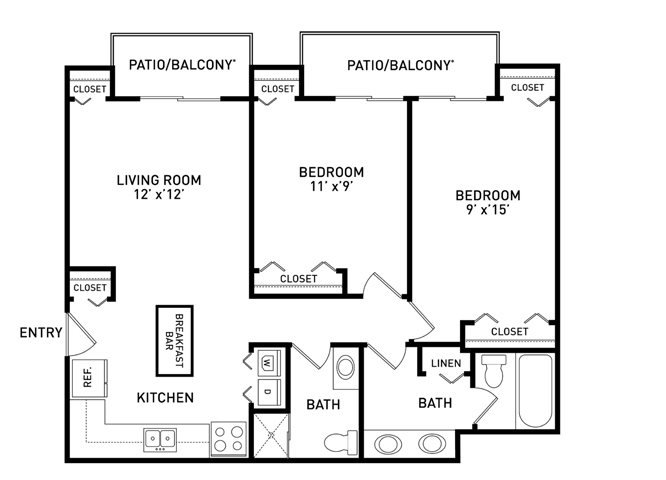 2 Bedrooms 2 Bathrooms Apartment for rent at Haslett Arms Apartments in East Lansing, MI