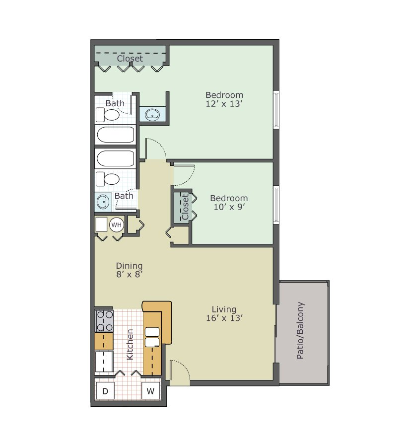 2 Bedrooms 2 Bathrooms Apartment for rent at Waters Edge Apartments in Lansing, MI