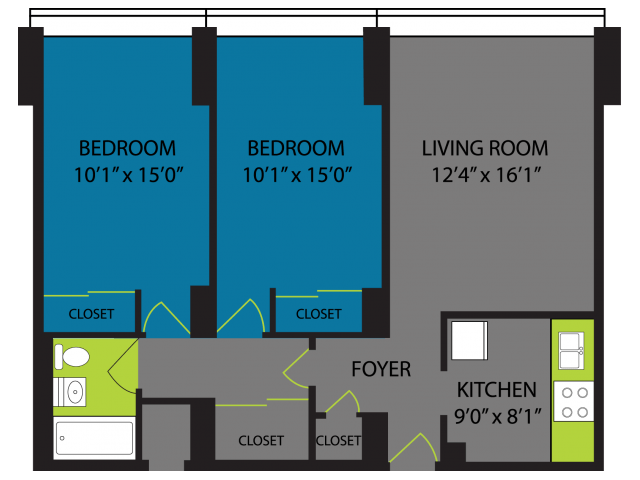2 Bedrooms 1 Bathroom Apartment for rent at Lake Meadows in Chicago, IL