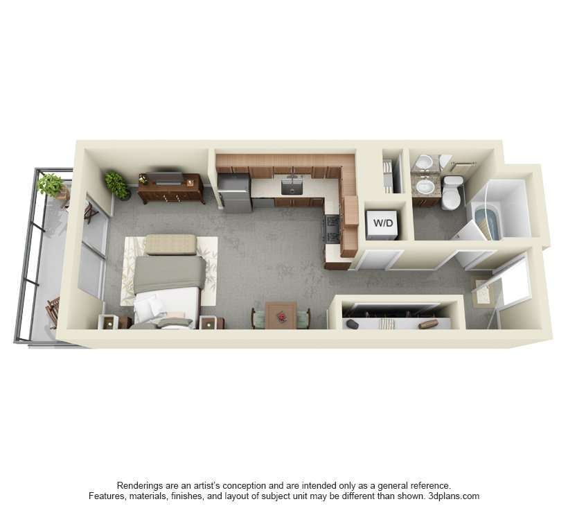 Studio 1 Bathroom Apartment for rent at 1111 Wilshire in Los Angeles, CA