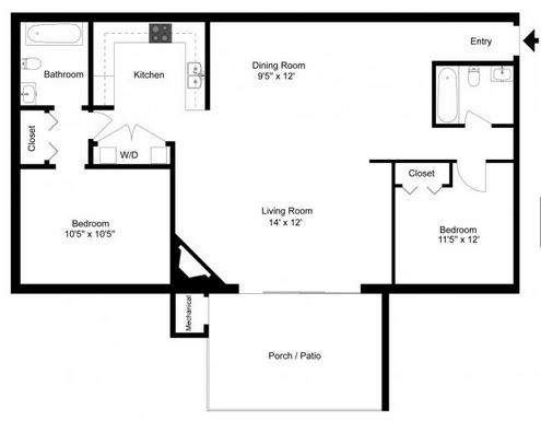 2 Bedrooms 2 Bathrooms Apartment for rent at Crystal Village in Durham, NC